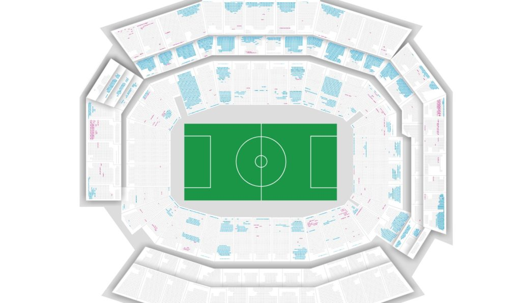 The USMNT vs. Paraguay at the Linc. As of now, the entire upper deck on the lower (TV) side is not being sold.