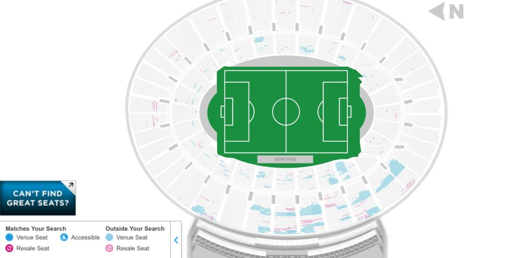This is the seating availability for Mexico vs. Jamaica at the Rose Bowl, with a capacity of over 92,000.