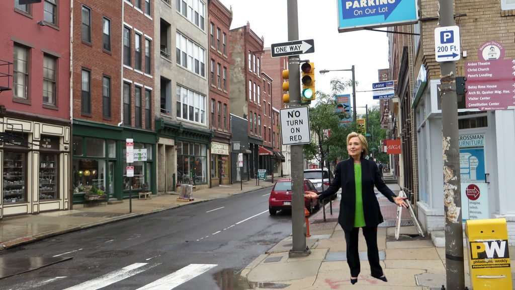 Hillary Clinton, presumably heading out for a night on the town in Old City.