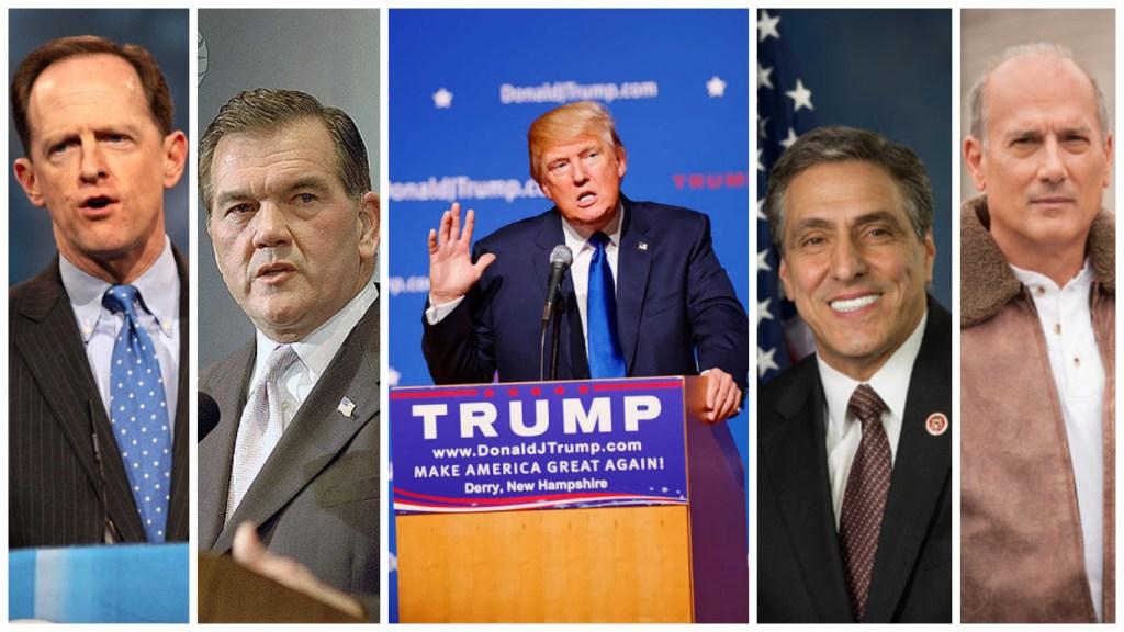 From left to right: Sen. Pat Toomey, former Gov. Tom Ridge, presidential nominee Donald Trump, Rep. Lou Barletta, Rep. Tom Marino