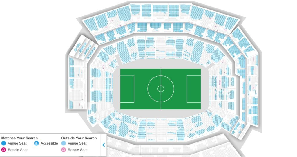 The seating availability on Wednesday for the Uruguay vs. Venezuela match on Thursday. The blue seats are available.