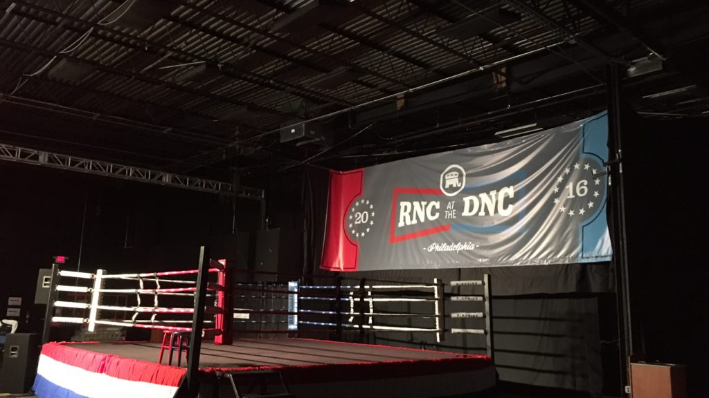 This boxing ring is in the same room where the Republican National Committee is holding its counter-DNC press conferences this week in Philly.