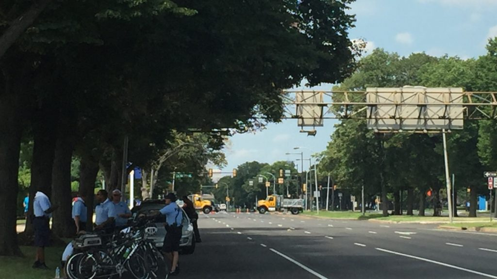 Police on bikes gather in South Philly near FDR Park.