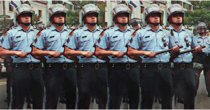 Photo illustration of Philadelphia police officers preparing for protesters at the 2000 Republican National Convention.