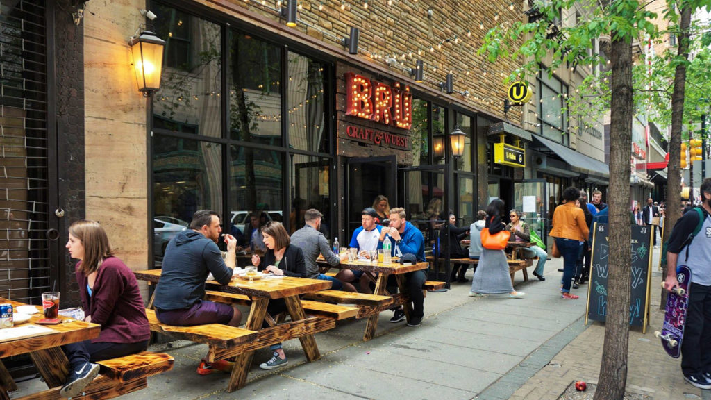Outdoor seating is big business at Bru Craft & Wurst