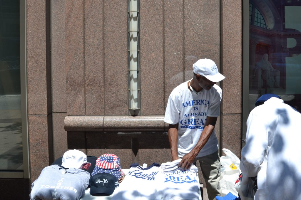 """Sales from """"America is already great"""" T-shirts are enough to cover costs for vendors to sell in Philly during the DNC."""