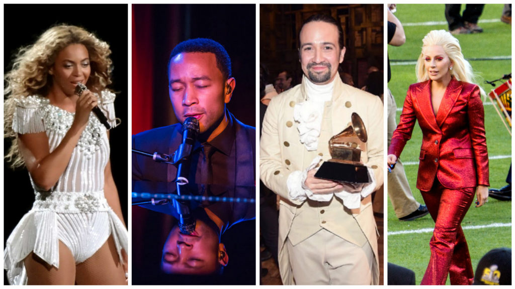 Left to right: Beyonce, John Legend, Lin Manuel-Miranda, Lady Gaga