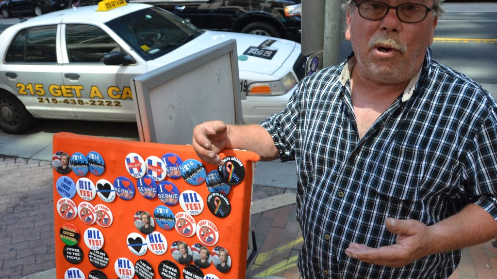 Frank Maloney's buttons are selling very well during the DNC.