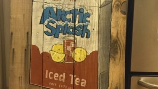 Arctic Splash iced tea used to be more than a favorite drink. In this case, it's a work of art as one of Dennis Wolf's pallet wood signs.