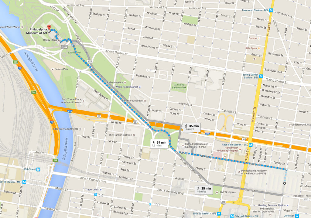 A map of the potential area for the NFL Draft on the Benjamin Franklin Parkway, with route to the Convention Center.