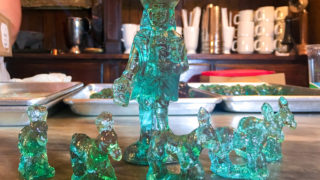 Glass Christmas toys candy at Shane Confectionery