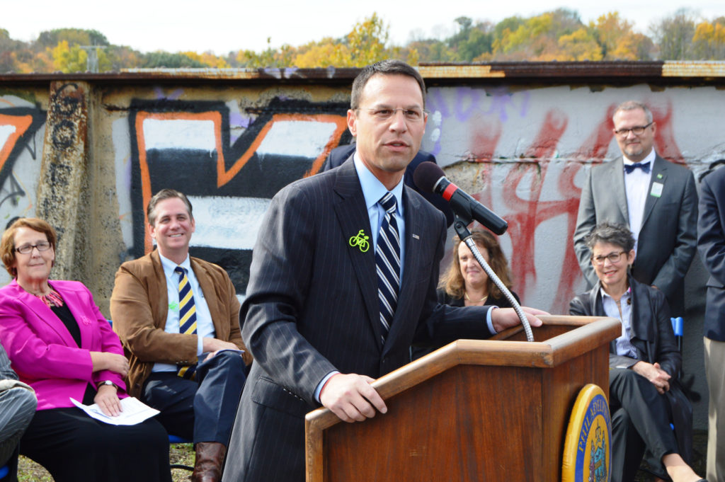 Montgomery County Comissioner Josh Shapiro speaking at the Manayunk Bridge Trail groundbreaking in October 2014.