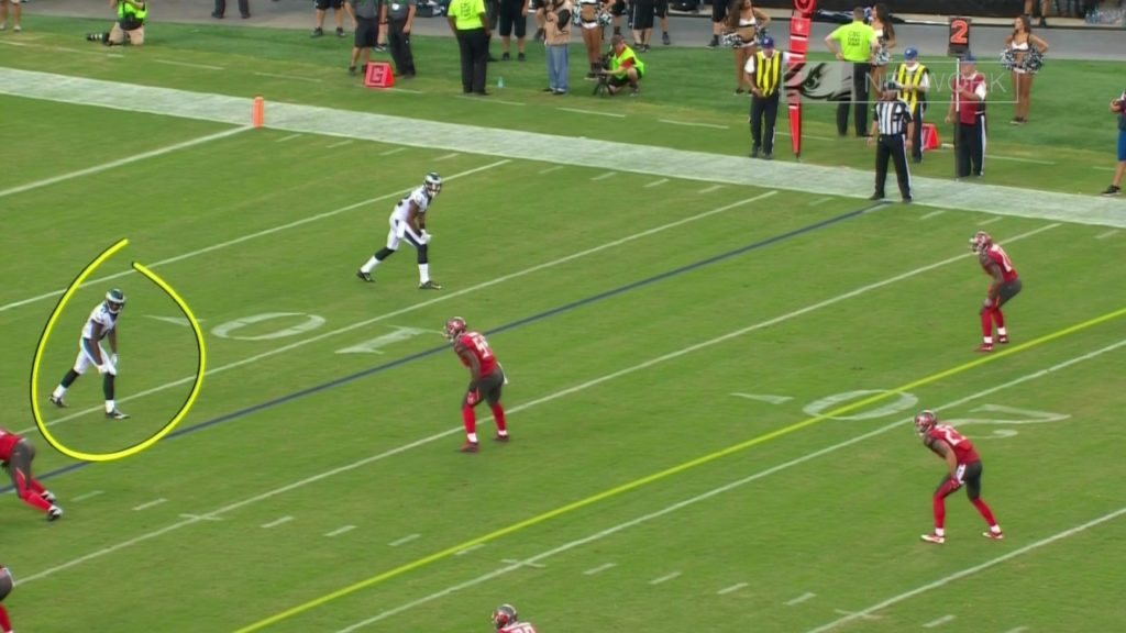 Nelson Agholor lined up in the slot on a screen pass.