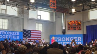 Democratic nominee for president Hillary Clinton addresses a crowd at West Philadelphia High School.