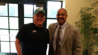 Seth Williams meeting with former Eagles coach Chip Kelly in 2015.