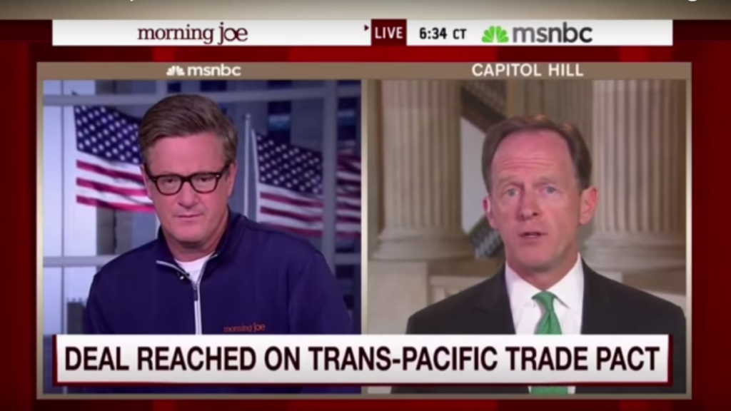"Sen. Pat Toomey talks about the TPA on ""Morning Joe."""
