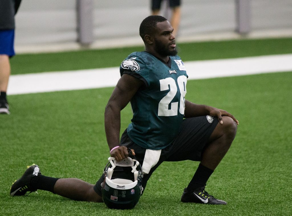 Philadelphia Eagles running back Wendell Smallwood (28) during training camp at NovaCare Complex.
