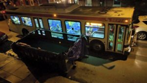 bus and dumpster