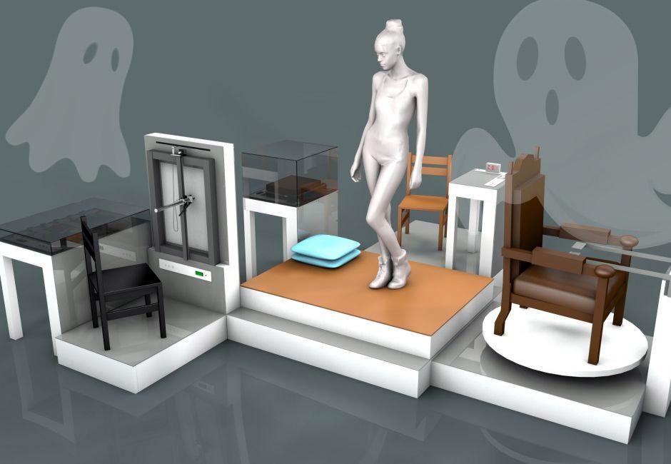 Fernando Orellana, 'His Study of Life,' 2016. Wood chairs, electronic equipment, multi-level platform (plus some cartoon ghosts)