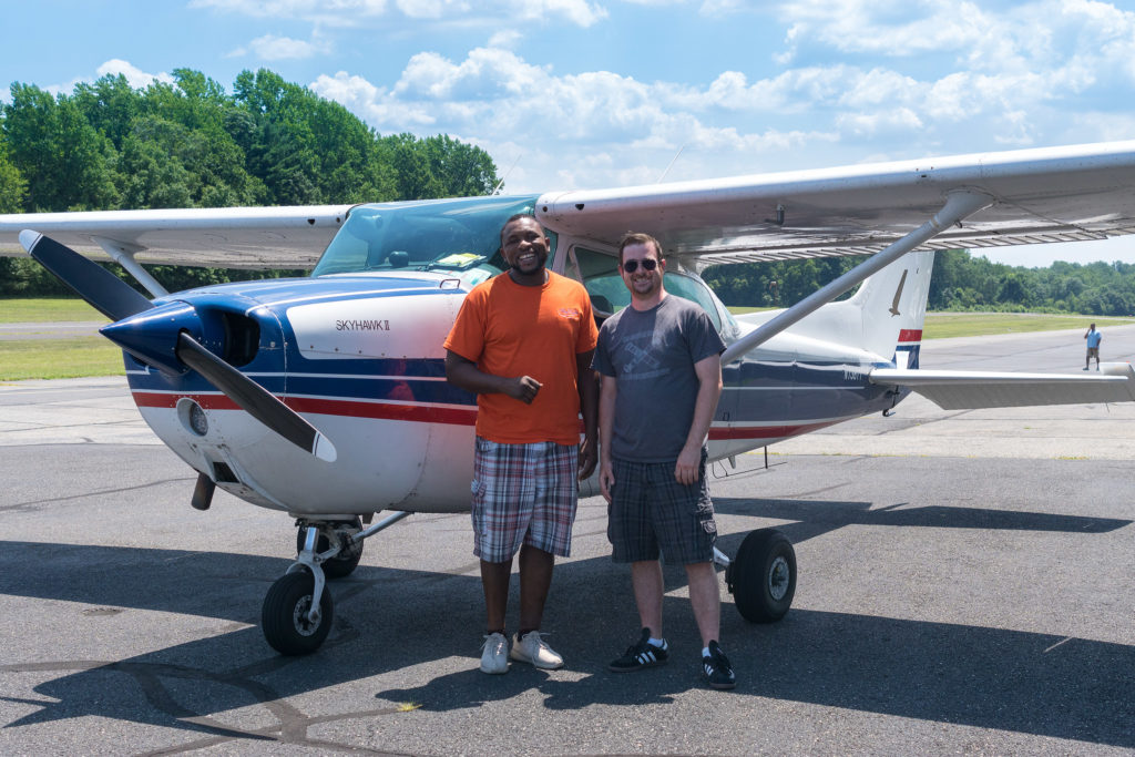 Instructor Shannon Wea and a student who's almost got his pilot's license