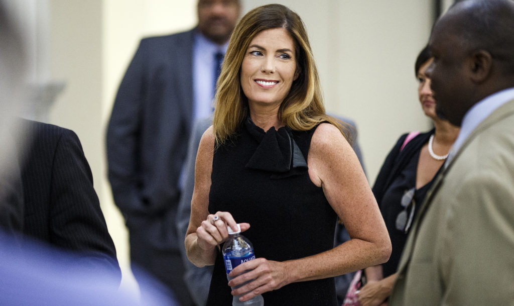 Pennsylvania Attorney General Kathleen Kane takes a morning break during the fifth day of her trial at the Montgomery County Courthouse in Norristown, Friday, August 12, 2016.