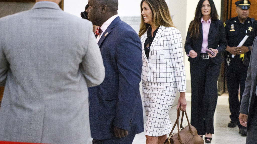 Pennsylvania Attorney General Kathleen Kane walks into the courtroom on the second day of her trial at the Montgomery County Courthouse in Norristown.