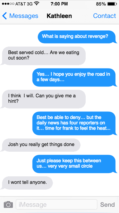 A May 5, 2014 text exchange between political consultant Joshua Morrow (blue) and Pa. Attorney General Kathleen Kane.
