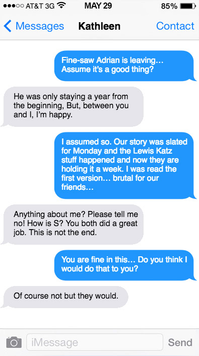 A recreated May 29, 2014 text exchange between political consultant Joshua Morrow (blue) and Pa. Attorney General Kathleen Kane.