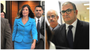 Left: Attorney General Kathleen Kane enters the courtroom for her criminal trial. Right: Her former political consultant Josh Morrow prepares to testify.