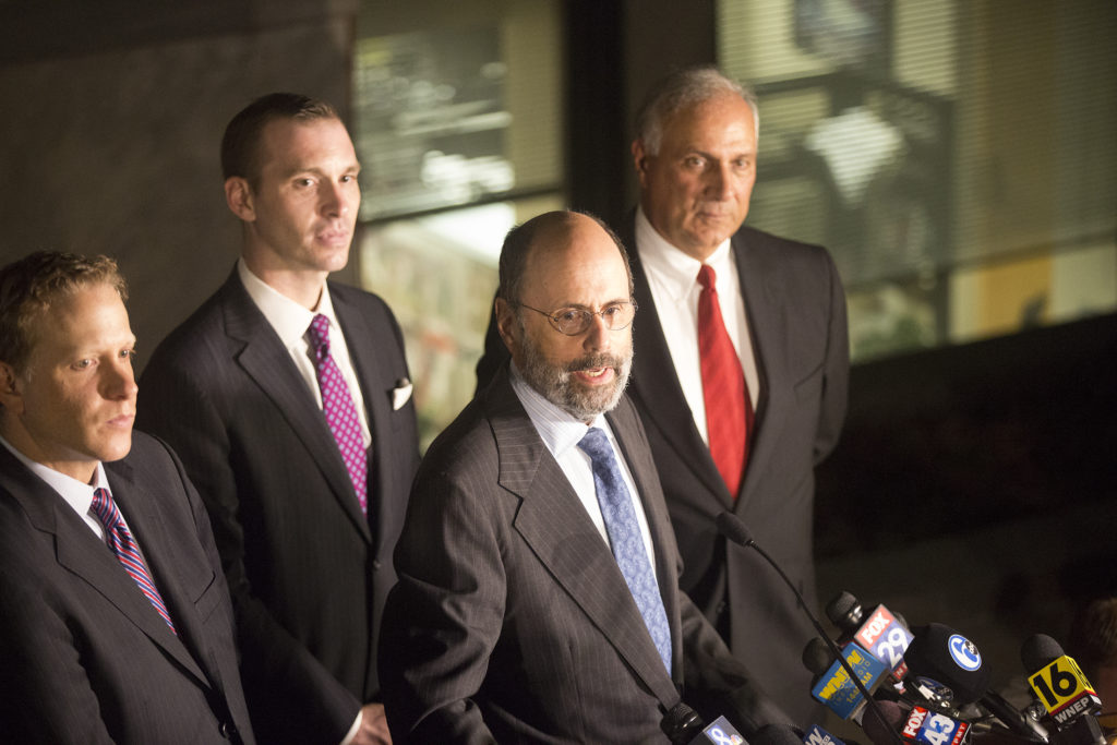 Kathleen Kane's defense team headed by Gerald Shargel speaks to the press after the verdict.