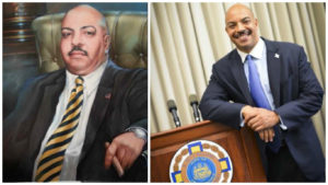 Left: Seth Williams, painting. Right: Seth Williams, IRL.