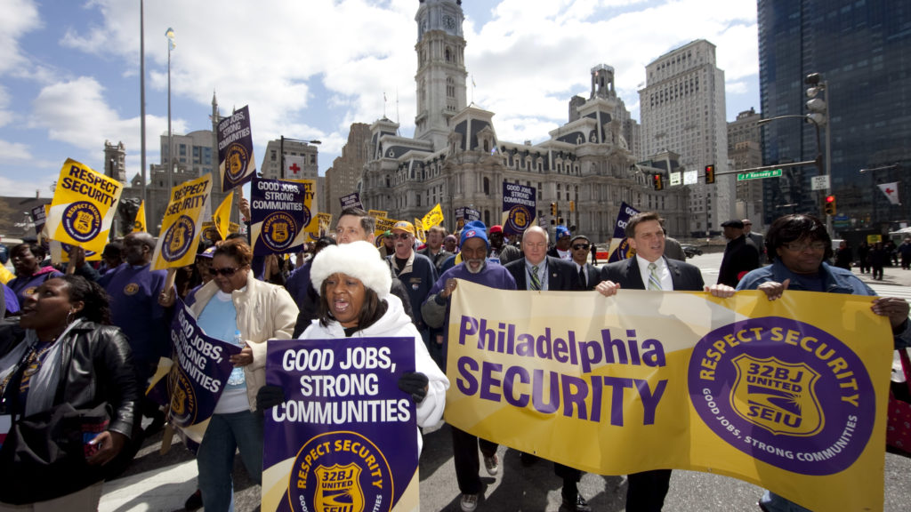 SEUI workers demonstrate in Philadelphia