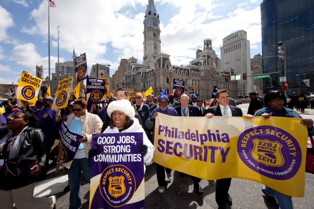 SEUI workers demonstrate in Philadelphia