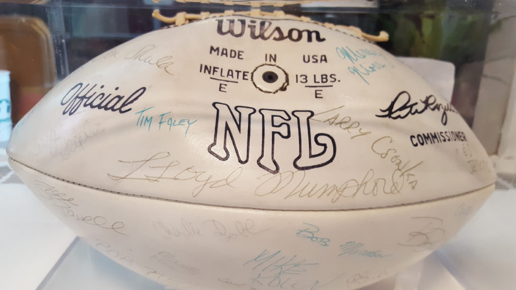 A ball signed by the 1972 Miami Dolphins, given to my family by NFL Films head Steve Sabol.