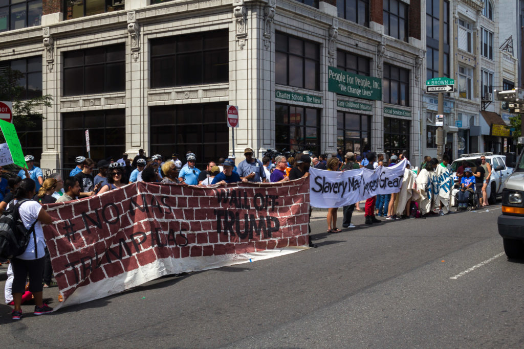 Several activist groups, including Juntos and Black Lives Matter, joined forces to protest Donald Trump. At several points, protesters made a solid wall across Brown St at Broad St. (Kaylee Tornay/BillyPenn)