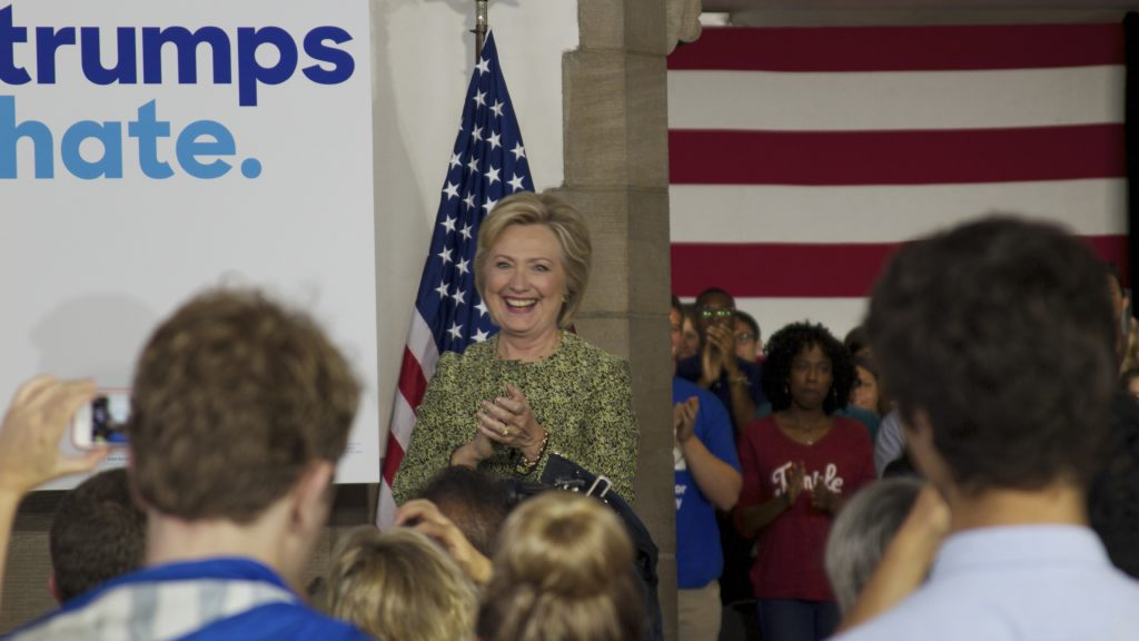 Democratic presidential nominee Hillary Clinton speaks to young voters at Temple University's Mitten Hall on Monday.