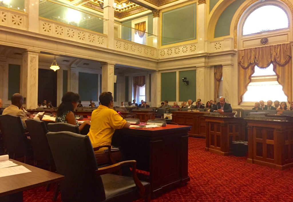State Sen. Daylin Leach testifies before the Philadelphia City Council Committee on Public Health and Human Services.
