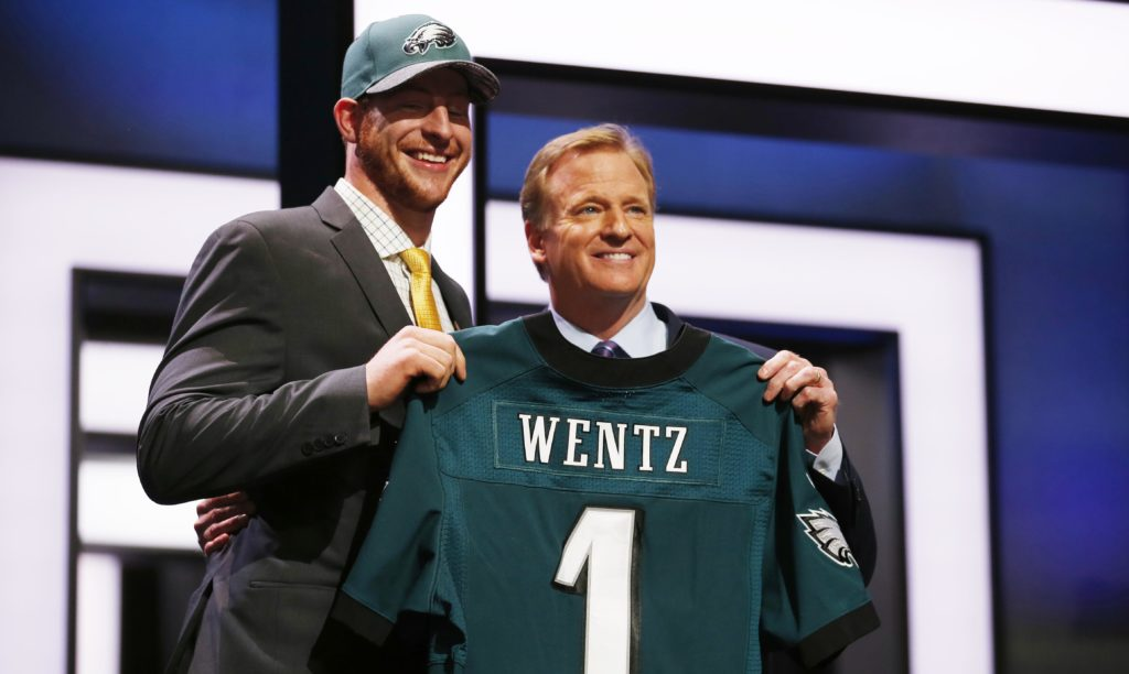 Carson Wentz with NFL commissioner Roger Goodell