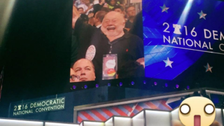 Walter Weeks on the Jumbotron at the Democratic National Convention.
