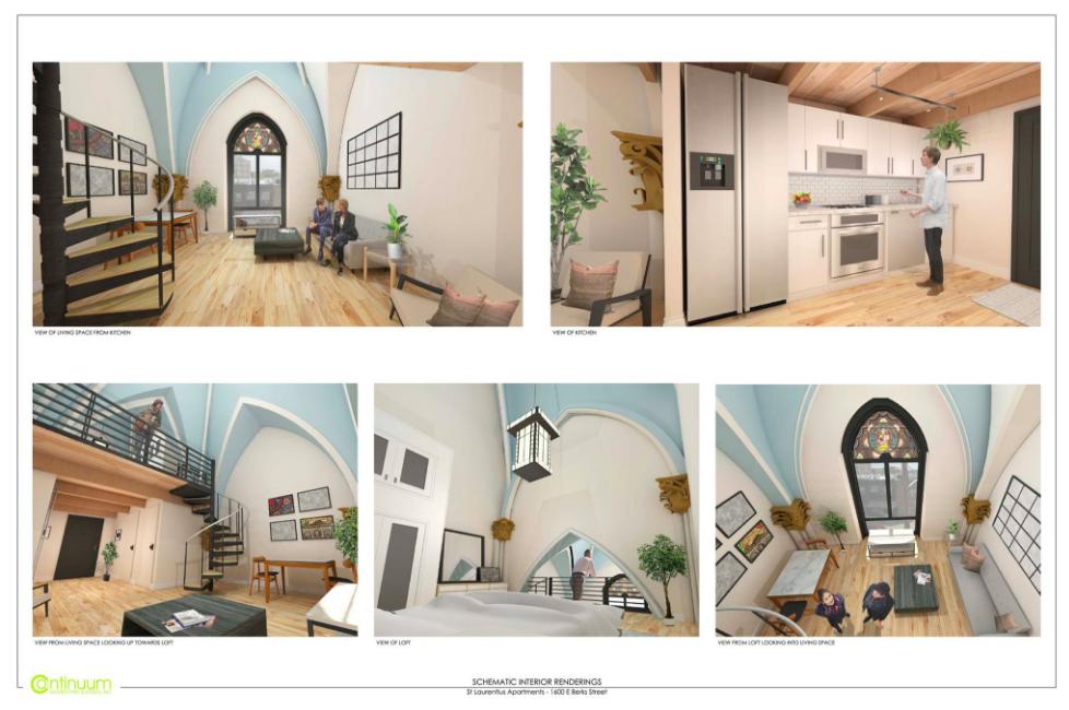 Renderings of Developer Leo Voloshin's plans for a 23-unit apartment complex inside the St. Laurentius Church in Fishtown.