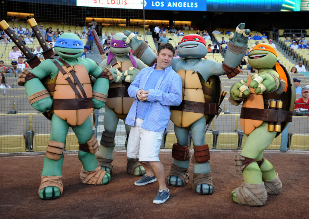 Sept.15, 2012; Los Angeles, CA, USA;  American actor Sean Astin with the Teenage Mutant Ninja Turtles, was on hand to throw out the first pitch before the game between the Los Angeles Dodgers and the St. Louis Cardinals at Dodger Stadium. Mandatory Credit: Jayne Kamin-Oncea-USA TODAY Sports