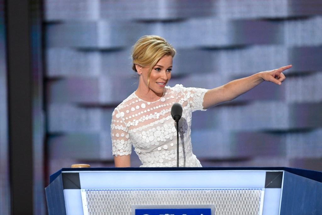 Jul 26, 2016; Philadelphia, PA, USA; Actress Elizabeth Banks speaks during the 2016 Democratic National Convention at Wells Fargo Arena. Mandatory Credit: Robert Deutsch-USA TODAY NETWORK