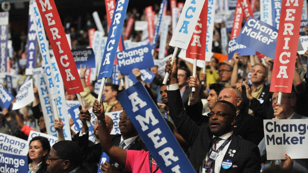 The Democratic National Convention crowd rallies for their nominee Hillary Clinton during the 2016 Democratic National Convention at Wells Fargo Arena.