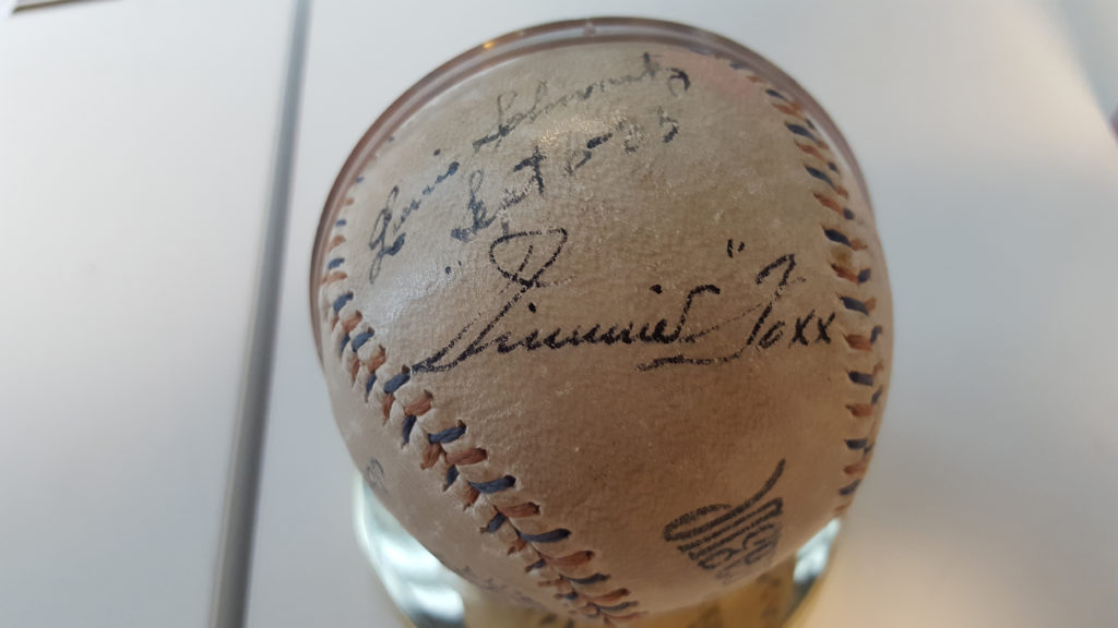 A ball dated September 6, 1933, with Hall of Famer Jimmie Foxx's signature