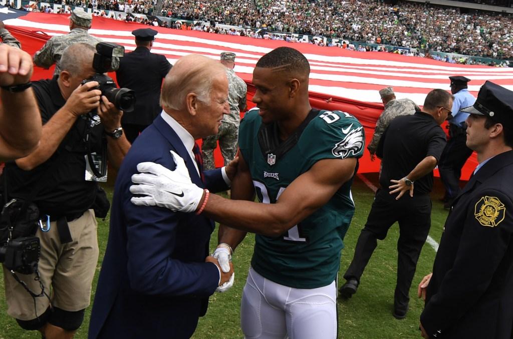 Vice President Joe Biden shakes hands with wide receiver Jordan Matthews