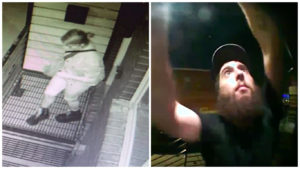 These two individuals were caught on two separate home surveillance systems stealing numbers off of homes in East Kensington.