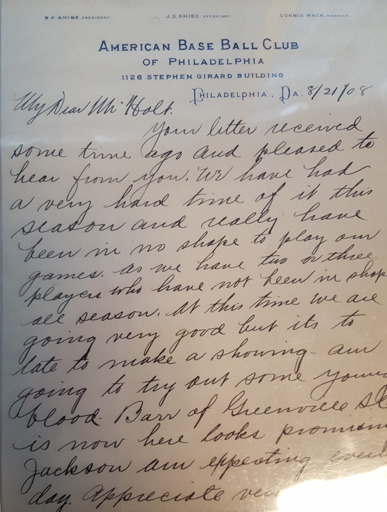 A letter, dated August 21, 1908, from Connie Mack to a friend, talking about bringing up Shoeless Joe Jackson.