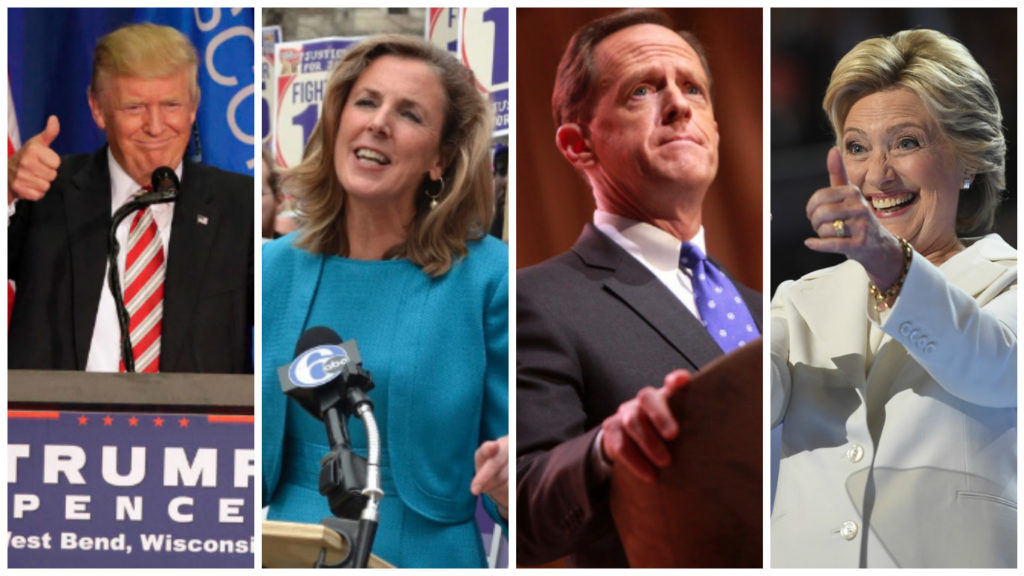 Left to right: Republican nominee Donald Trump, Senate candidate Katie McGinty, Senate candidate Pat Toomey, Democratic nominee Hillary Clinton