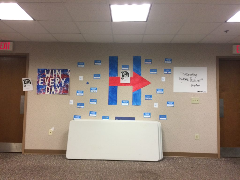 A Hillary Clinton wall in the Cecil B. Moore Street office.
