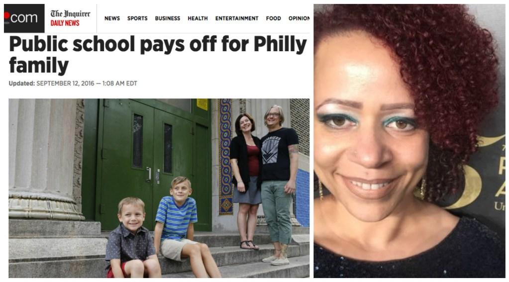 Left: Screenshot of Philly.com Right: New York Times Magazine writer Nikole Hannah-Jones